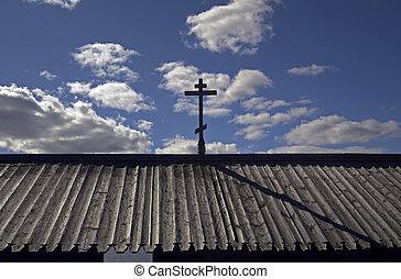 Orthodox cross in the sky.