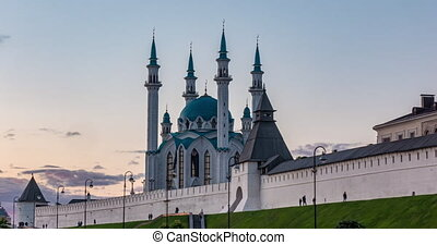 Russia, Kazan, evening time lapse with beautiful Kul Sharif mosque, summer cityscape in Kazan