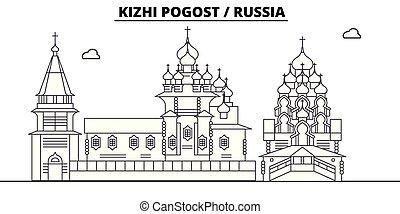 Russia - Kizhi Pogost travel famous landmark skyline, panorama, vector. Russia - Kizhi Pogost linear illustration