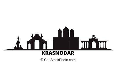 Russia, Krasnodar city skyline isolated vector illustration...