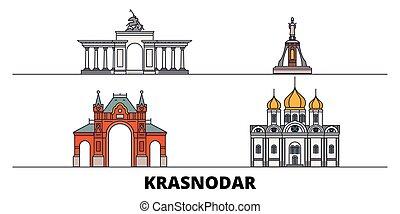 Russia, Krasnodar flat landmarks vector illustration. Russia...