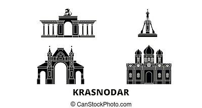 Russia, Krasnodar flat travel skyline set. Russia, Krasnodar...