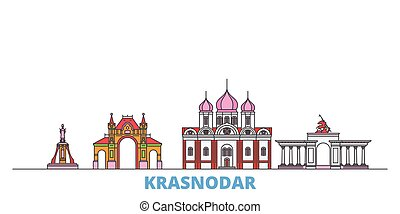 Russia, Krasnodar line cityscape, flat vector. Travel city ...