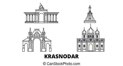 Russia, Krasnodar line travel skyline set. Russia, Krasnodar...