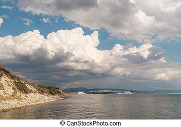 Summer view of the Cape Thick-Gelendzhik on the part of the Black sea.