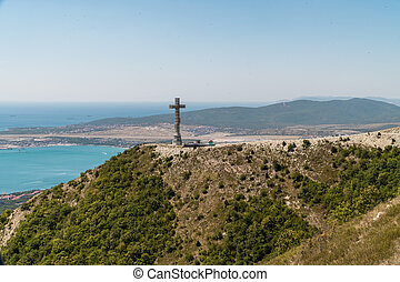 View of Gelendzhik Bay from the height of the Markhotsky ridge in summer.