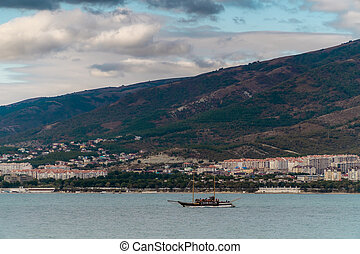 View of the southern resort town of Gelendzhik against the mountains.