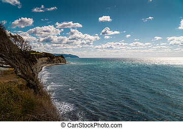 Views of the Black sea from the steep shores of Gelendzhik.