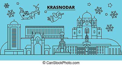 Russia, Krasnodar winter holidays skyline. Merry Christmas, ...