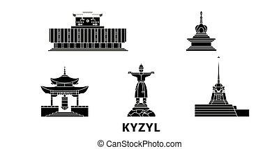 Russia, Kyzyl flat travel skyline set. Russia, Kyzyl black city vector panorama, illustration, travel sights, landmarks, streets.