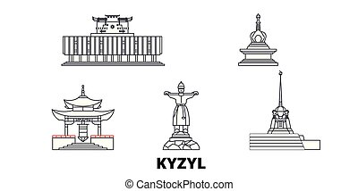 Russia, Kyzyl line travel skyline set. Russia, Kyzyl outline city vector panorama, illustration, travel sights, landmarks, streets.