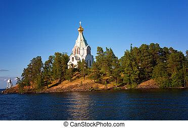 Russia, Ladoga lake. Island Valaam. Beautiful churches.