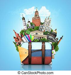 Russia, landmarks Moscow, retro suitcase, travel