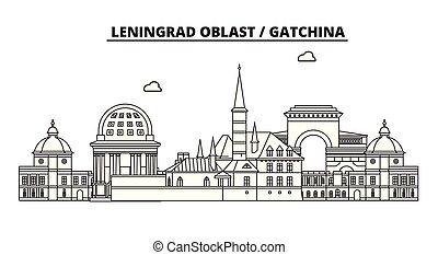 Russia, Leningrad Oblast, Gatchina . City skyline: architecture, buildings, streets, silhouette, landscape, panorama, landmarks. Editable strokes. Flat design line vector illustration concept