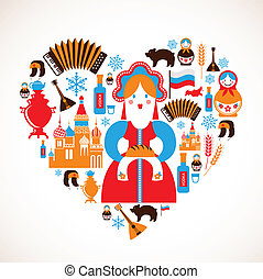 heart with vector icons - Russia love