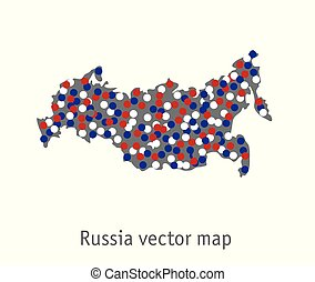 Russia map blue red white gray isolate object