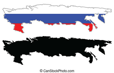 Russia map flag