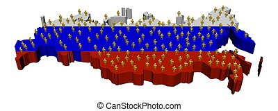 Russia map flag with many people - Russia map flag with many...