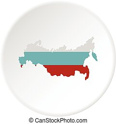 Russia map icon circle
