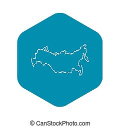 Russia map icon, outline style