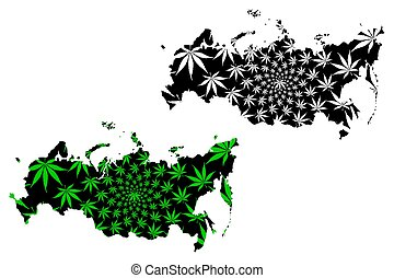 Russia - map is designed cannabis leaf
