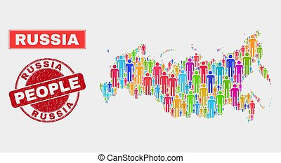 Russia Map Population People and Corroded Watermark - ...