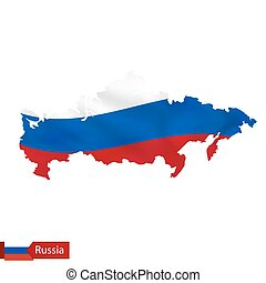Russia map with waving flag of country.