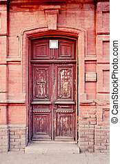 russia., marrone, vecchio, astrakhan, porta