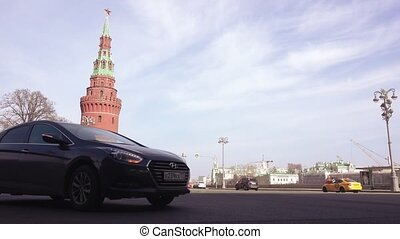 Traffic of cars near the Kremlin