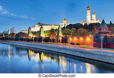 Russia - Moscow city at night with Kremlin