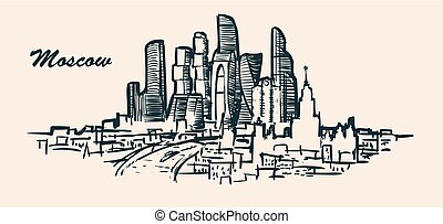 Russia, Moscow city skyline, hand-drawn sketch vector illustration