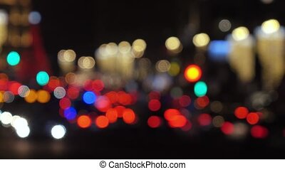 Optical blur Automotive traffic at night - RUSSIA, MOSCOW -...