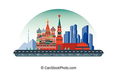 Russia Moscow icon in flat style