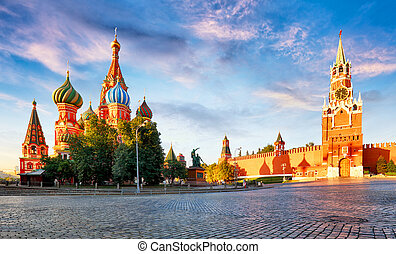 Russia - Moscow in red square with Kremlin and St. Basil's Cathedral