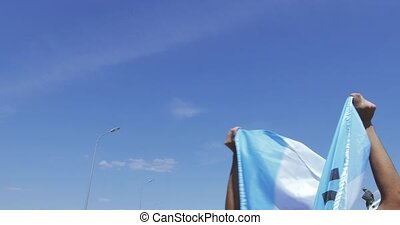 Flag of Argentina in the hands - RUSSIA, MOSCOW - June 16,...