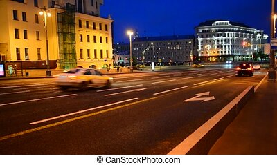 Russia, Moscow, Maly Moskvoretsky bridge. Night shooting, street.