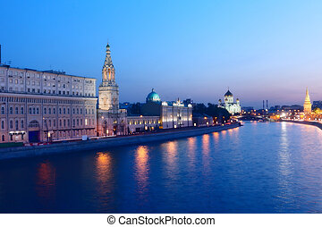 Russia, Moscow, night view of the Moskva River, Bridge and ...