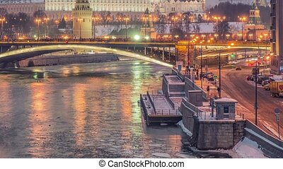Russia, Moscow, night view of the Moskva River, Bridge and...