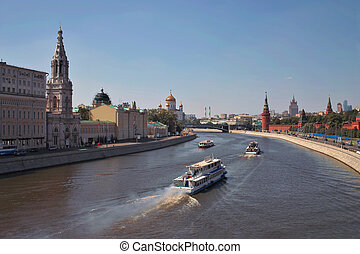russia., moscow-river, centre, moscou