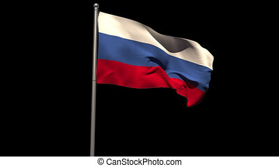 Russia national flag waving on flagpole on black background