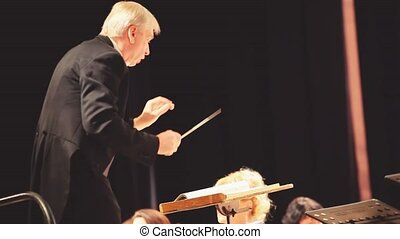 An orchestra conductor directing the musicians. Conducting: directing a musical performance with visible gestures.