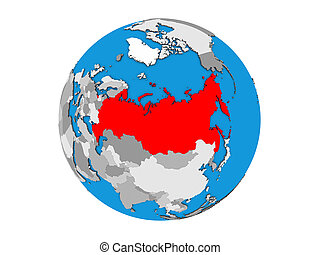 Russia on 3D globe isolated