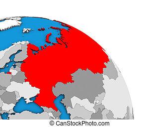 Russia on 3D globe