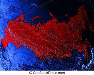Russia on blue blue digital map