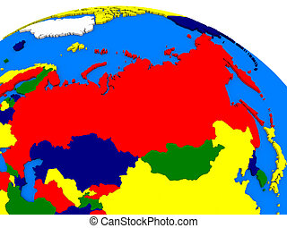 Russia on colorful 3D globe