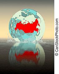 Russia on globe splashing in water