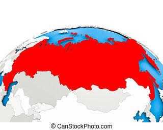 Russia on political globe