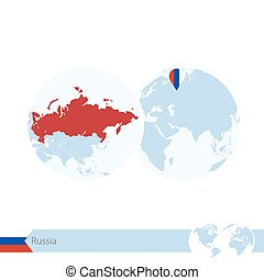 Russia on world globe with flag and regional map of Russia....