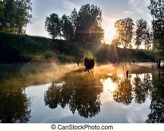 russia., petit, rivière, brumeux, matin
