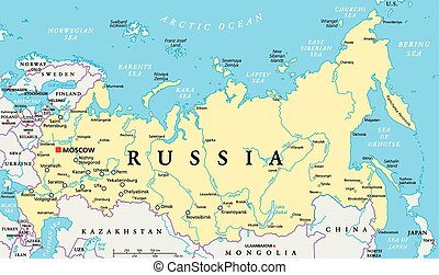 Russia political map with capital Moscow, national borders, important cities, rivers and lakes. English labeling and scaling. Illustration.